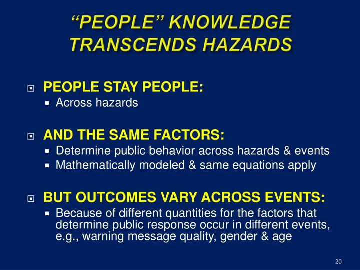 """PEOPLE"" KNOWLEDGE TRANSCENDS HAZARDS"