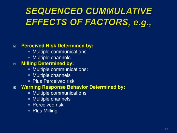 SEQUENCED CUMMULATIVE EFFECTS OF FACTORS, e.g.,