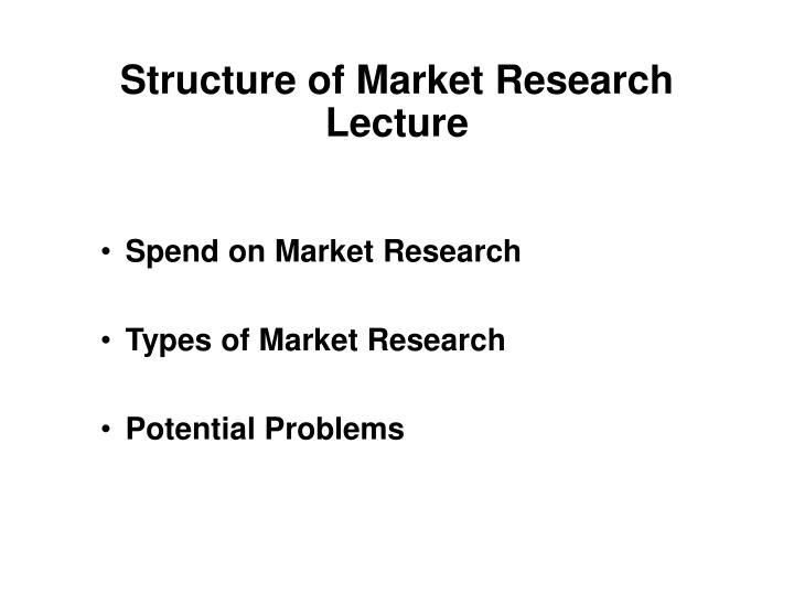 Structure of Market Research Lecture