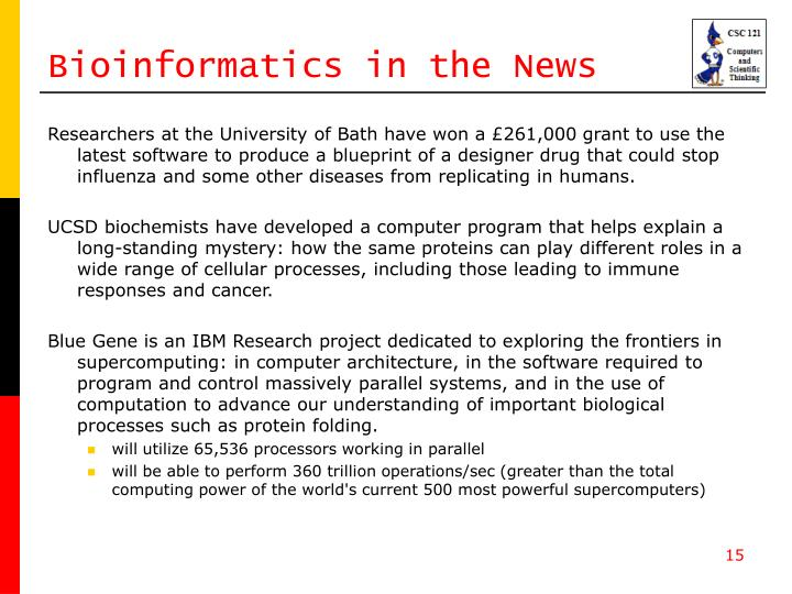 Bioinformatics in the News