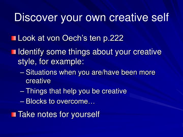 Discover your own creative self
