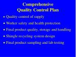 comprehensive quality control plan