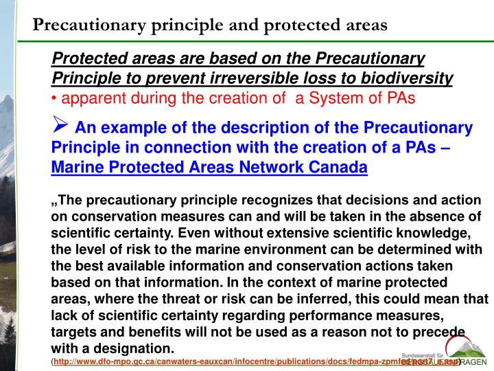 Precautionary principle and protected areas