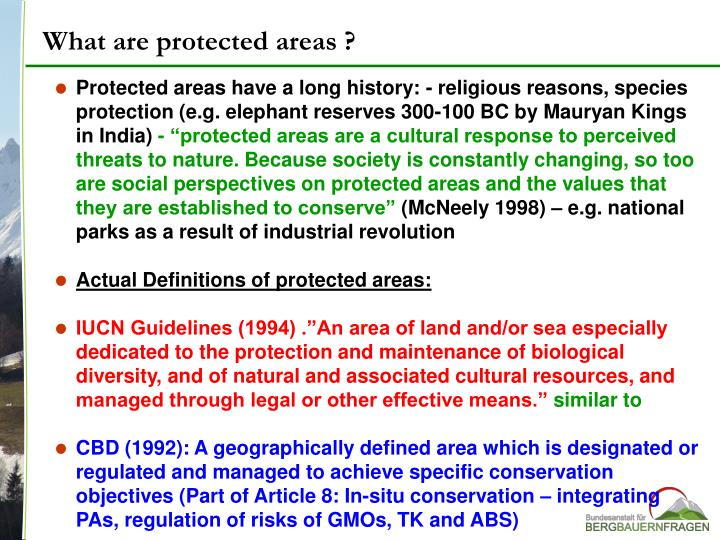 What are protected areas ?
