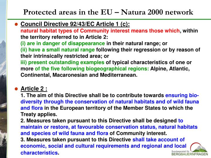 Protected areas in the EU –