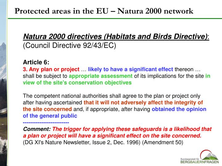 Protected areas in the EU – Natura 2000 network