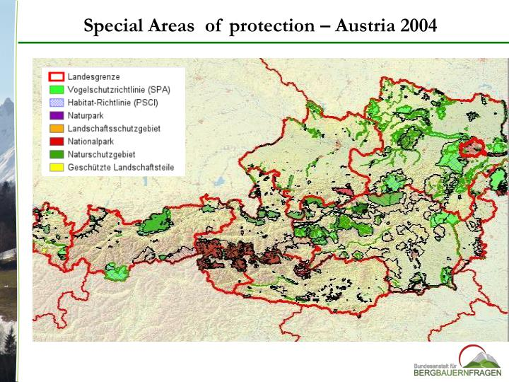 Special Areas  of protection – Austria 2004