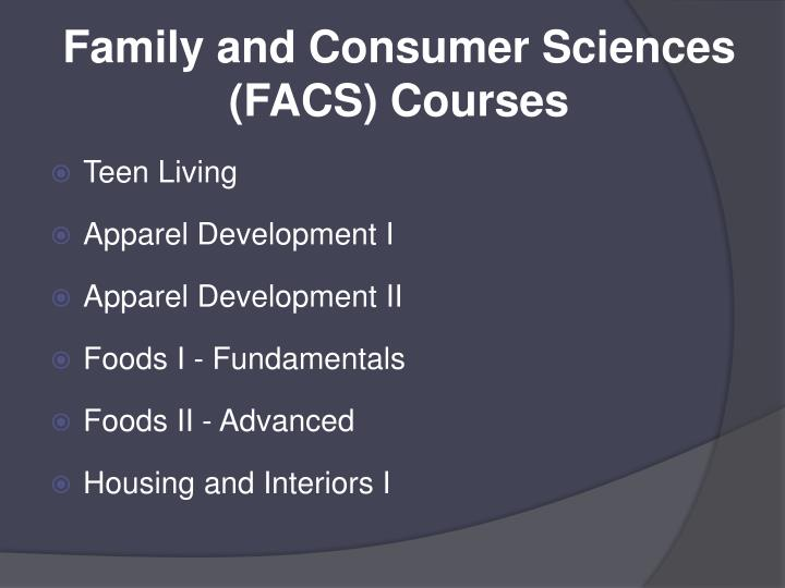 Family and Consumer Sciences (FACS) Courses