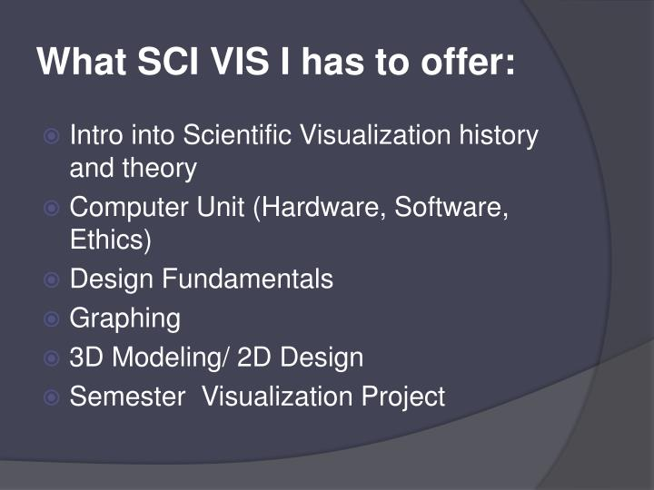 What SCI VIS I has to offer: