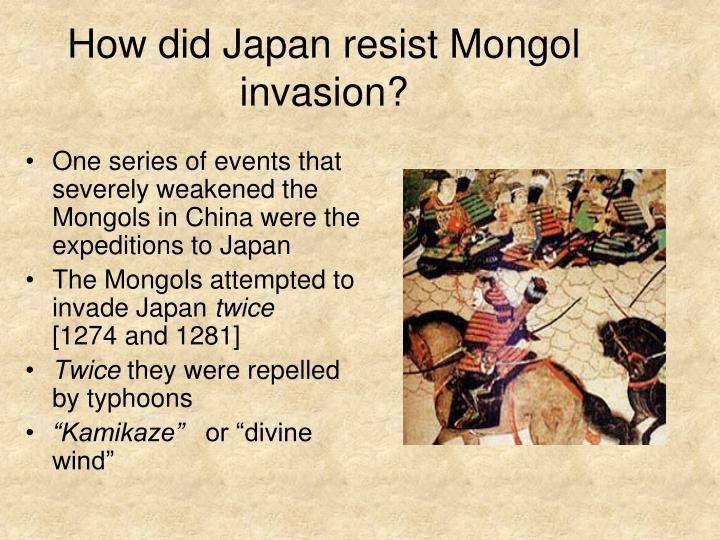 How did Japan resist Mongol invasion?