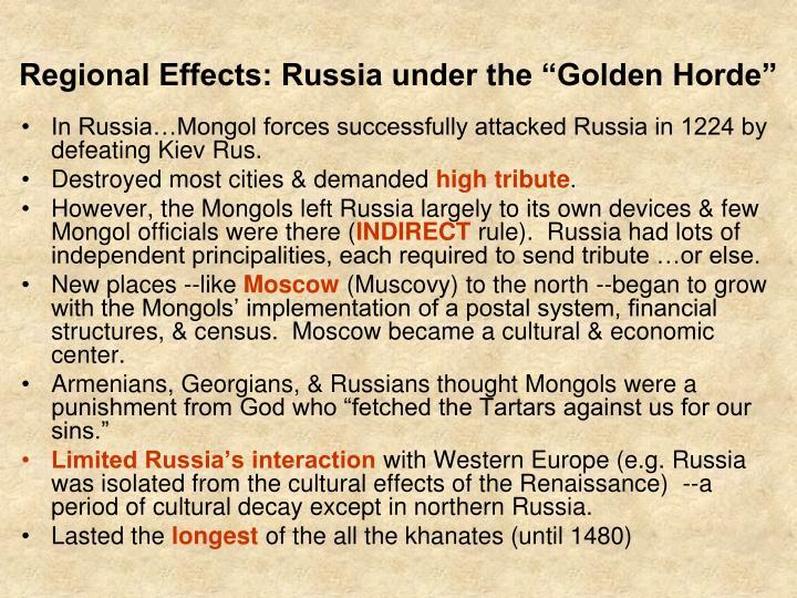 "Regional Effects: Russia under the ""Golden Horde"""