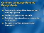 common language runtime design goals
