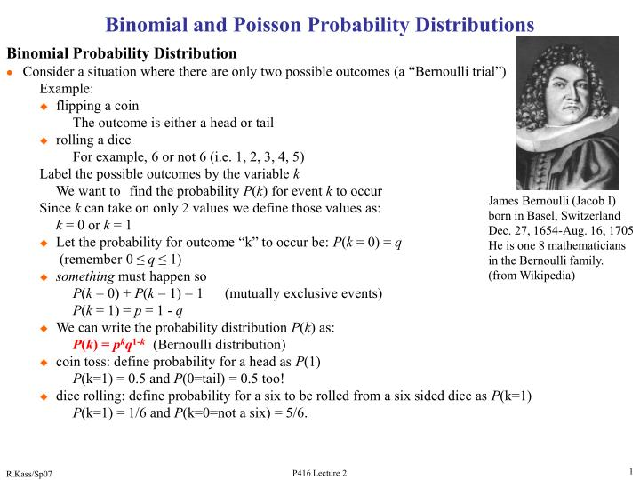 binomial and poisson probability distributions n.