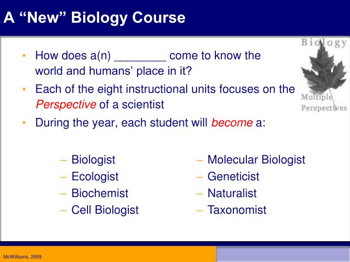 """A """"New"""" Biology Course"""