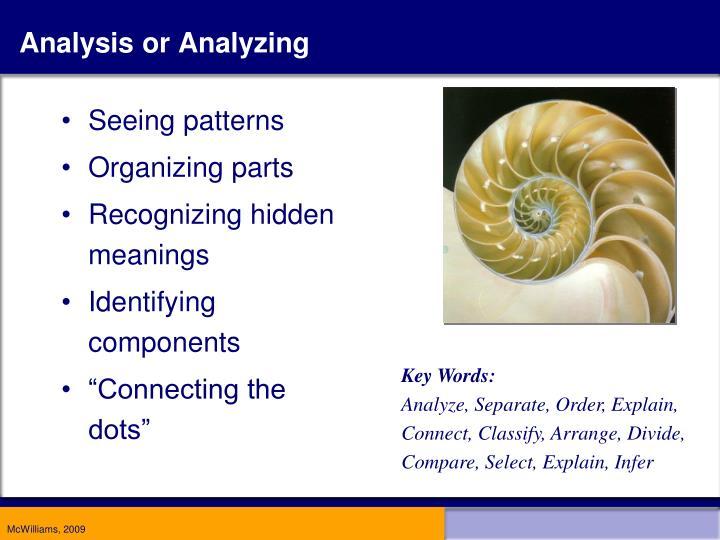 Analysis or Analyzing