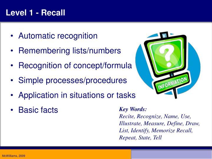 Level 1 - Recall