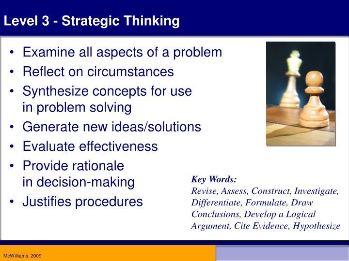 Level 3 - Strategic Thinking