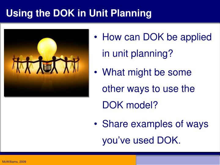Using the DOK in Unit Planning