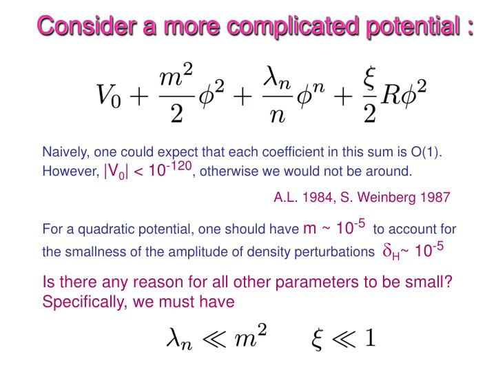 Consider a more complicated potential :
