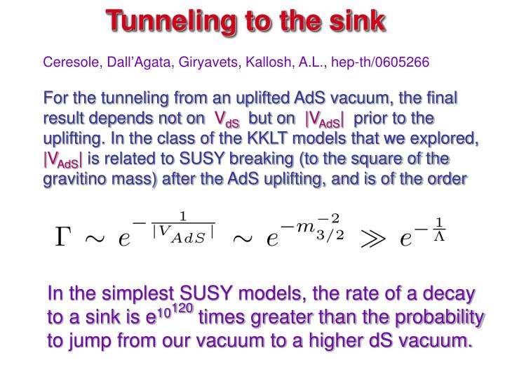 Tunneling to the sink