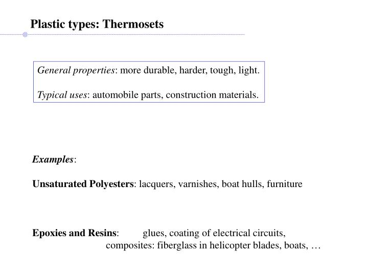 Plastic types: Thermosets