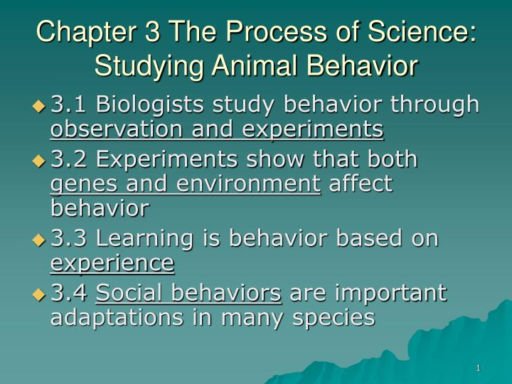 chapter 3 the process of science studying animal behavior n.