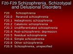f20 f29 schizophrenia schizotypal and delusional disorders