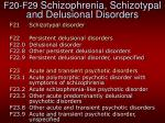 f20 f29 schizophrenia schizotypal and delusional disorders1