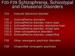 f20 f29 schizophrenia schizotypal and delusional disorders2