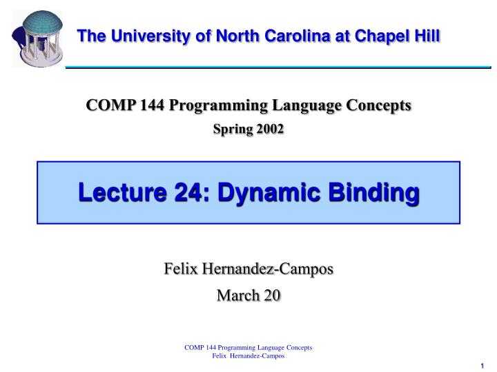Lecture 24 dynamic binding