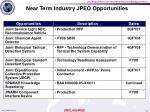 near term industry jpeo opportunities