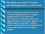 the role of level 1 teams and management continued