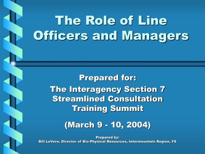 the role of line officers and managers n.