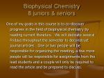 biophysical chemistry 8 juniors seniors