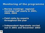 monitoring of the programme