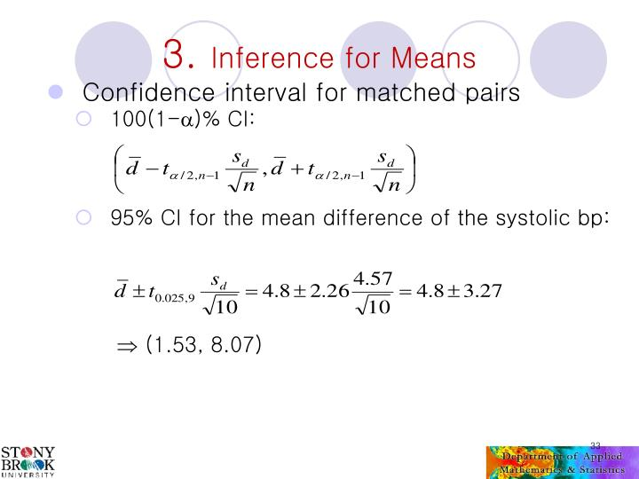 Confidence interval for matched pairs