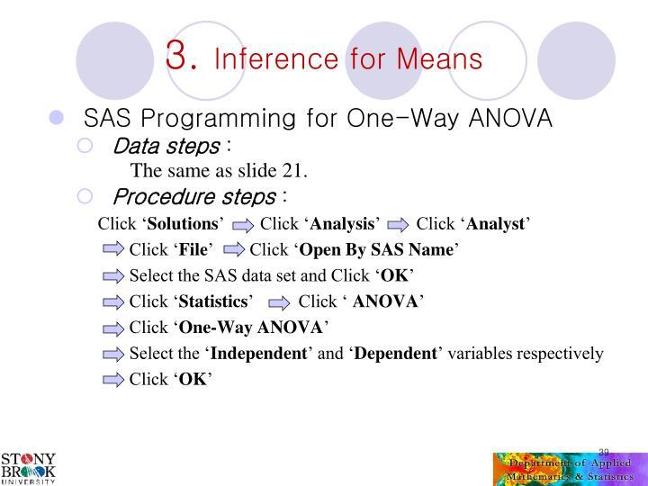 SAS Programming for One-Way ANOVA