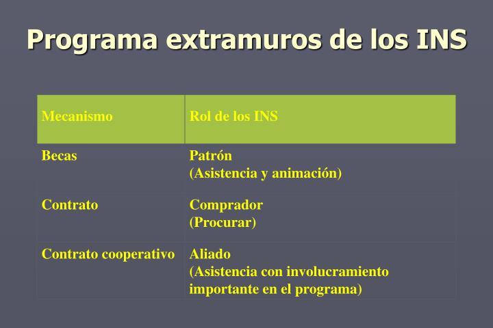 Programa extramuros de los INS