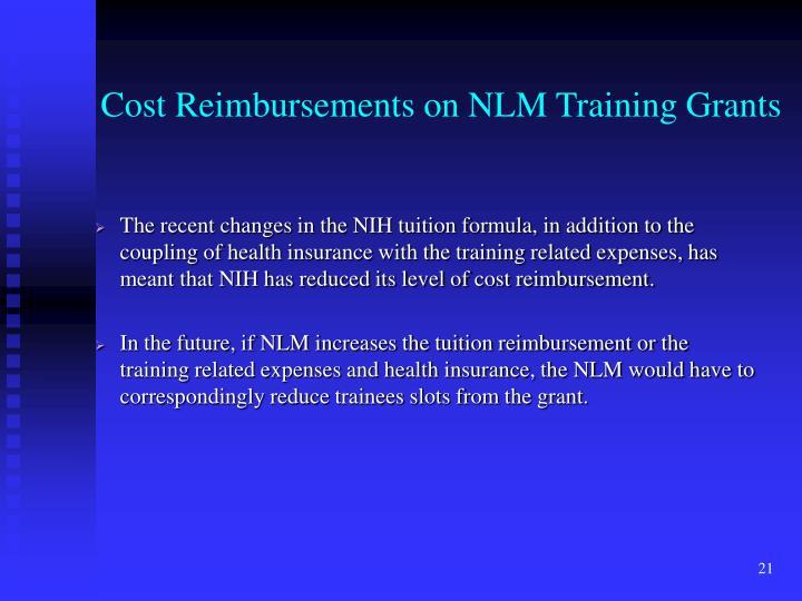 Cost Reimbursements on NLM Training Grants