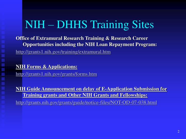 Nih dhhs training sites
