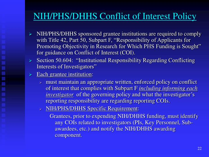 NIH/PHS/DHHS Conflict of Interest Policy
