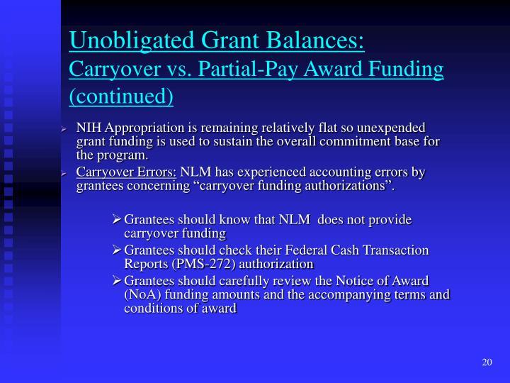 Unobligated Grant Balances: