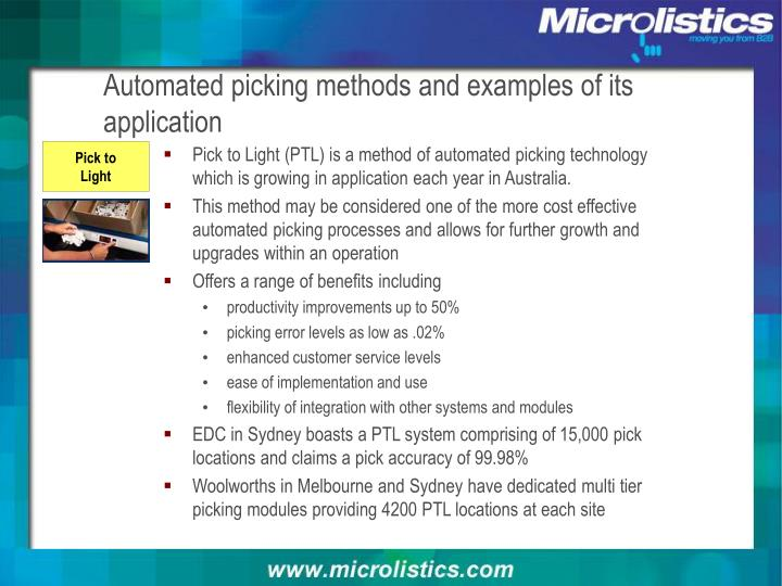 Automated picking methods and examples of its application