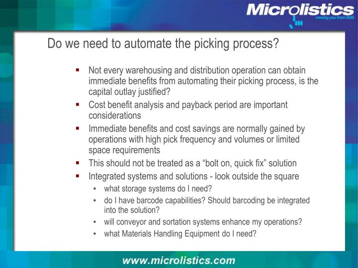 Do we need to automate the picking process?