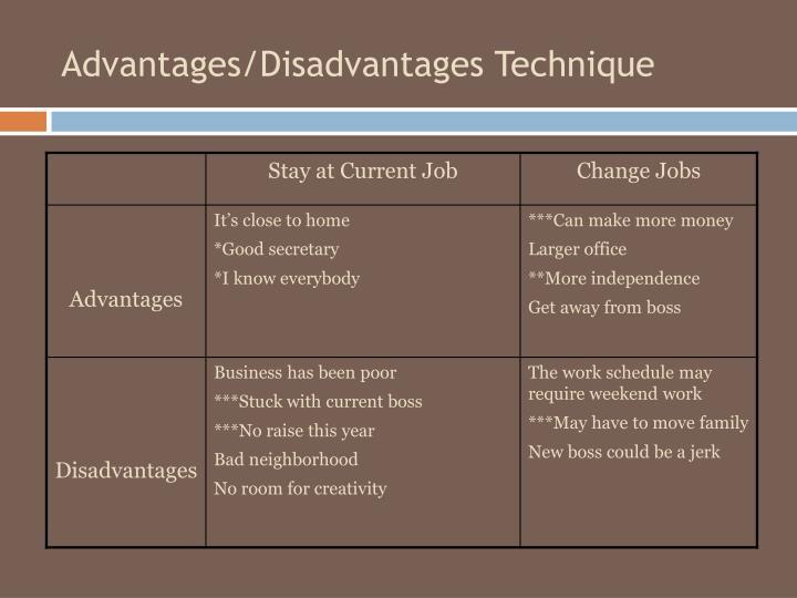 Advantages/Disadvantages Technique