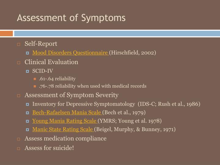 Assessment of Symptoms