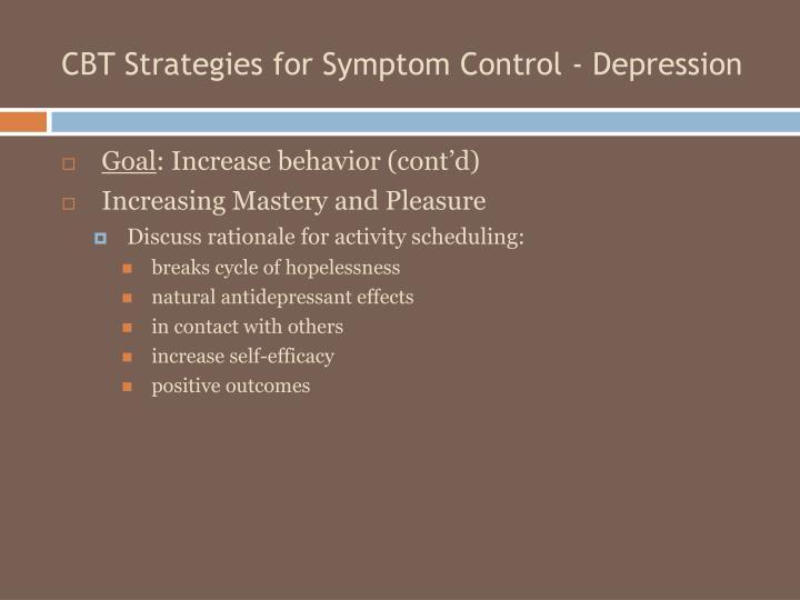 CBT Strategies for Symptom Control - Depression