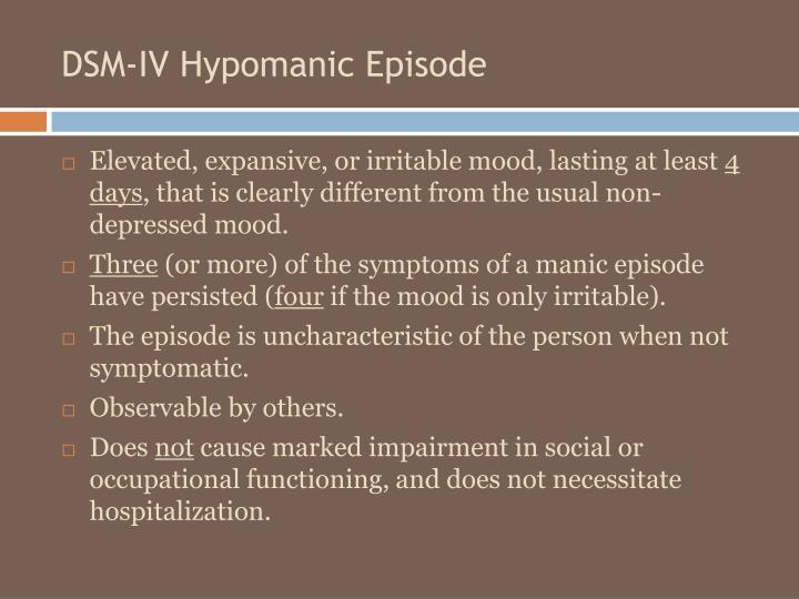 DSM-IV Hypomanic Episode