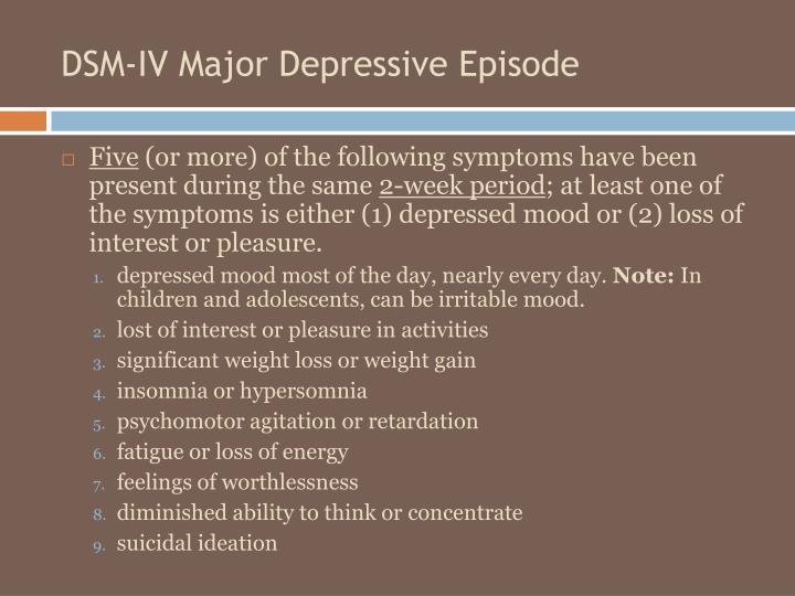 DSM-IV Major Depressive Episode