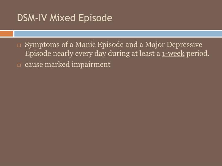 DSM-IV Mixed Episode